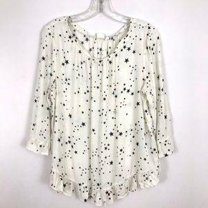 GAP challis star print swing top blouse ruffle hem